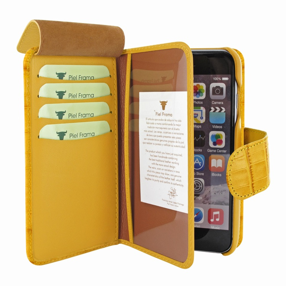 Piel Frama iPhone 7 / 8 WalletMagnum Leather Case - Yellow Cowskin-Crocodile
