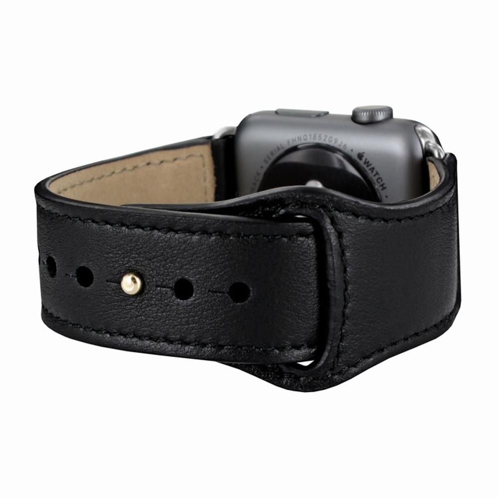 Piel Frama Apple Watch 42 mm Leather Strap - Black / Silver Adapter