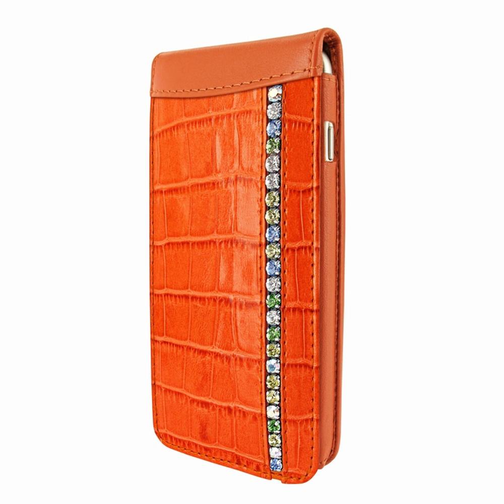 Piel Frama iPhone 7 Plus / 8 Plus Classic Magnetic Leather Case - Orange Swarovski Cowskin-Crocodile