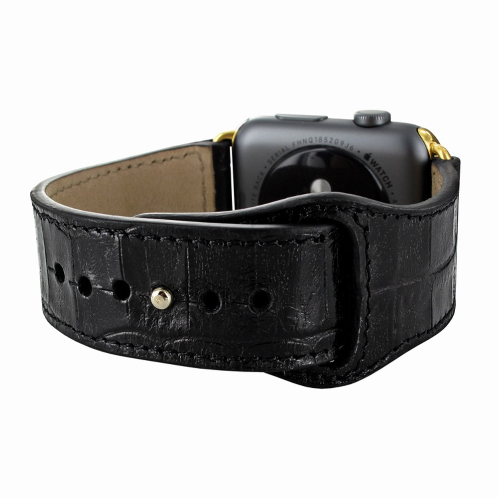 Piel Frama Apple Watch 42 mm Leather Strap - Black Cowskin-Crocodile / Gold Adapter