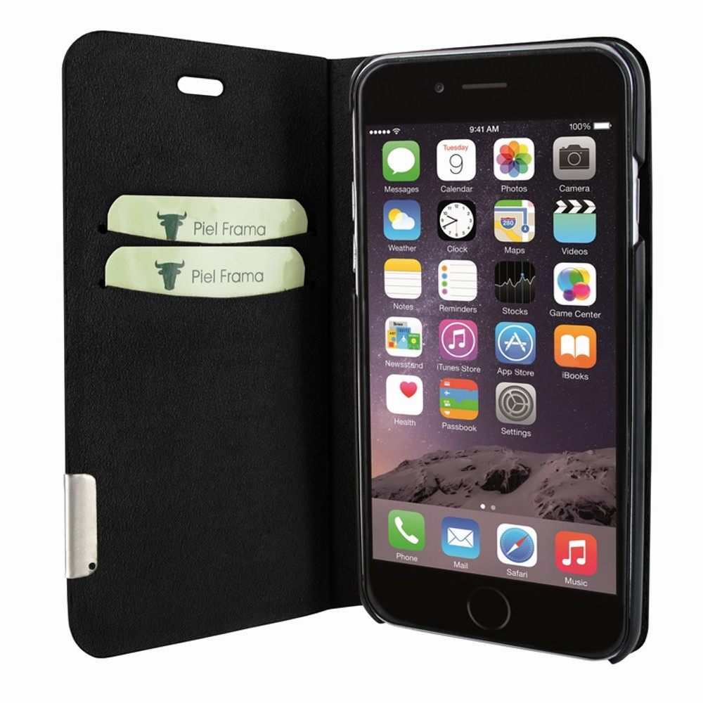 Piel Frama iPhone 7 Plus / 8 Plus FramaSlimCards Leather Case - Black Cowskin-Ostrich