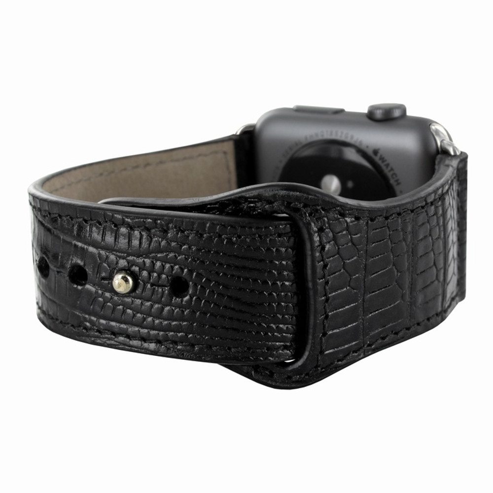 Piel Frama Apple Watch 42 mm Leather Strap - Black Cowskin-Lizard / Silver Adapter