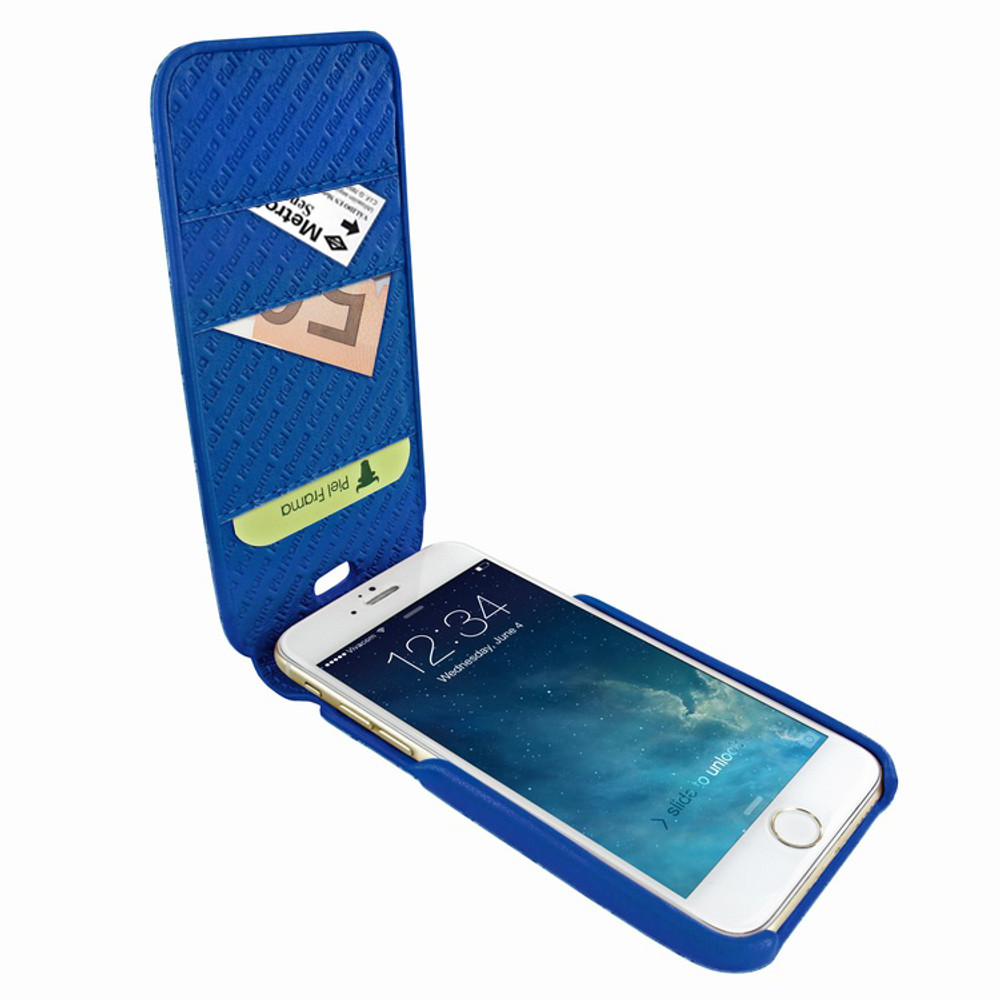Piel Frama iPhone 7 Plus / 8 Plus iMagnumCards Leather Case - Blue Cowskin-Crocodile