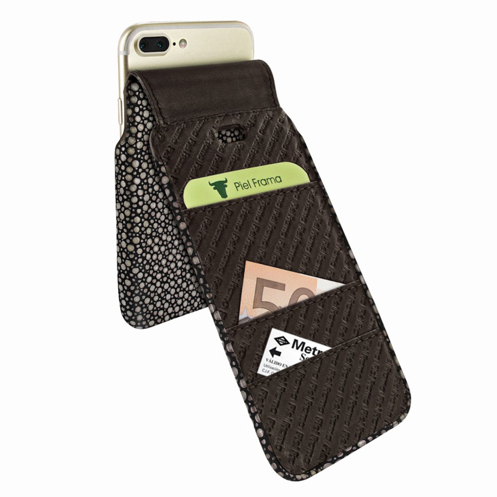 Piel Frama iPhone 7 Plus / 8 Plus iMagnumCards Leather Case - Brown Cowskin-Stingray