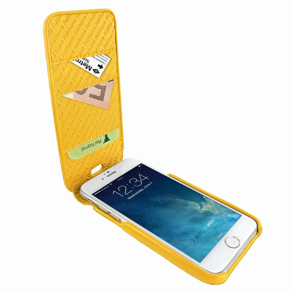 Piel Frama iPhone 7 Plus / 8 Plus iMagnumCards Leather Case - Yellow Cowskin-Crocodile
