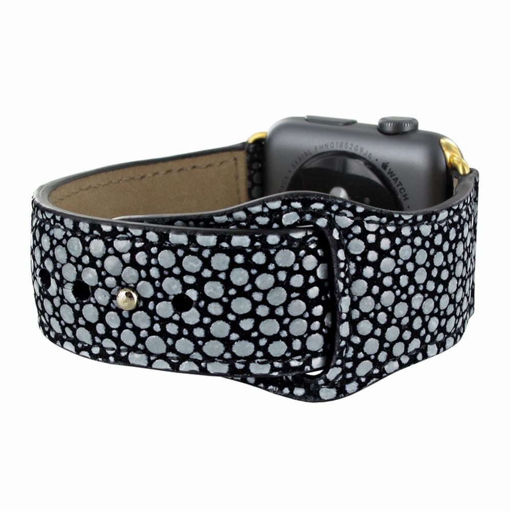 Piel Frama Apple Watch 42 mm Leather Strap - Black Cowskin-Stingray / Gold Adapter