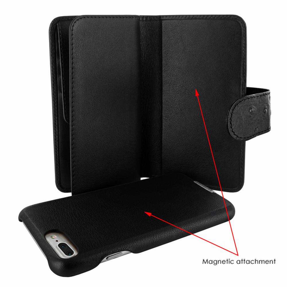 Piel Frama iPhone 7 Plus / 8 Plus WalletMagnum Leather Case - Black Cowskin-Ostrich