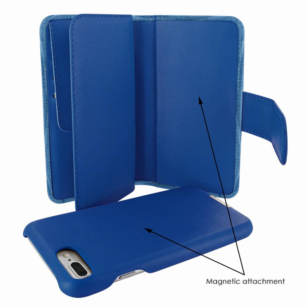 Piel Frama iPhone 7 Plus / 8 Plus WalletMagnum Leather Case - Blue Swarovski Cowskin-Crocodile