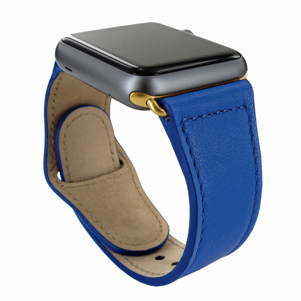 Piel Frama Apple Watch 42 mm Leather Strap - Blue / Gold Adapter
