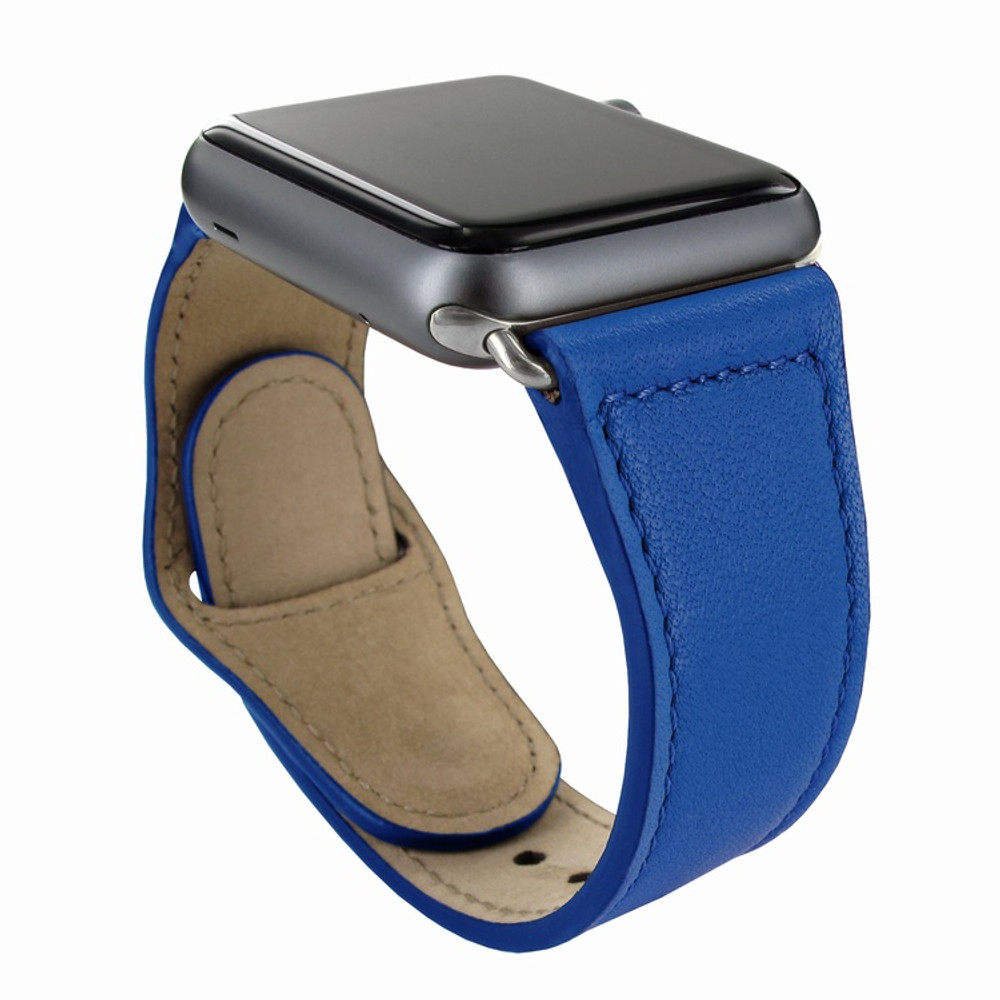 Piel Frama Apple Watch 42 mm Leather Strap - Blue / Silver Adapter