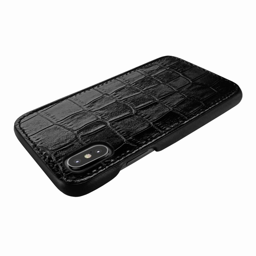 Piel Frama iPhone X / Xs FramaSlimGrip Leather Case - Black Cowskin-Crocodile