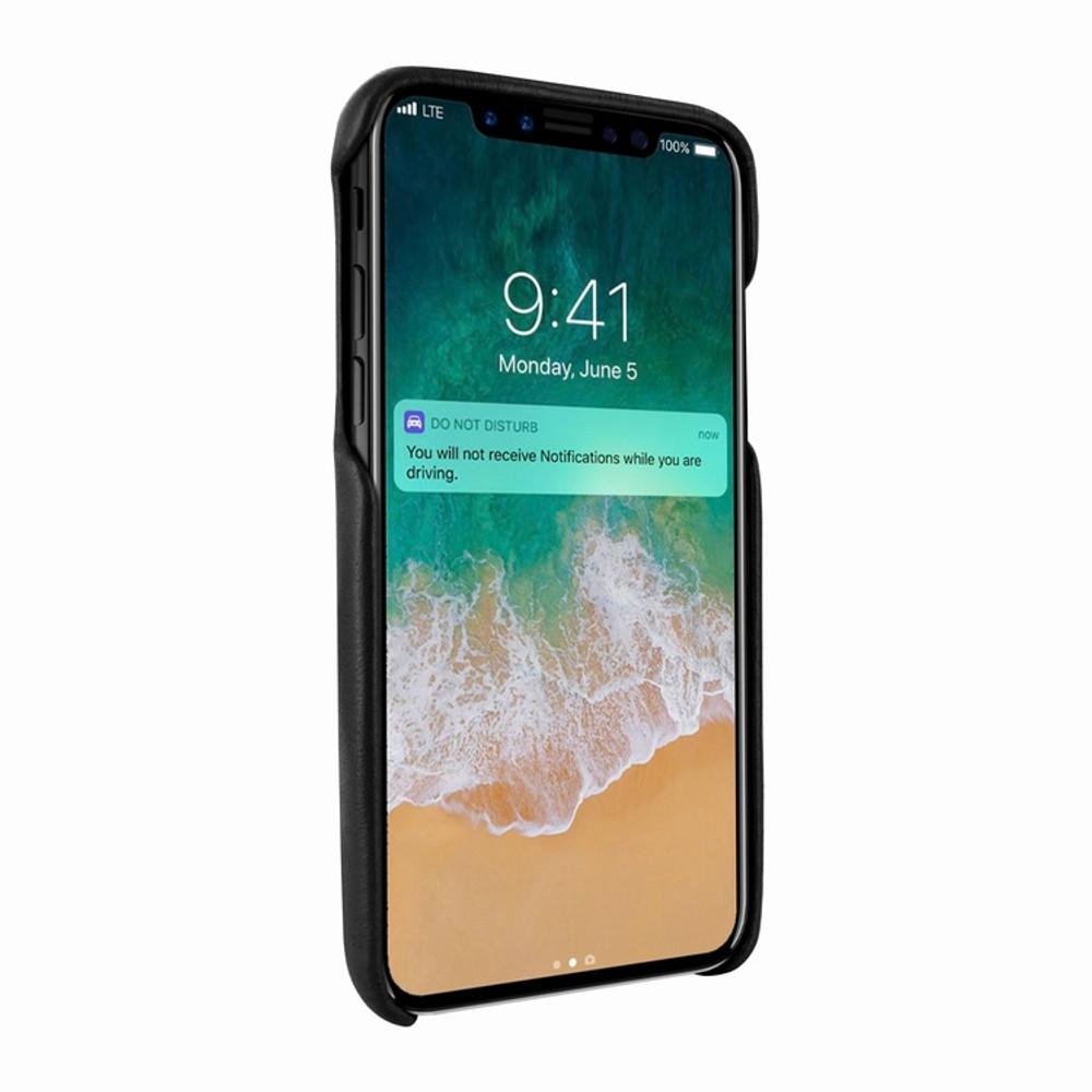 Piel Frama iPhone X / Xs FramaSlimGrip Leather Case - Black Cowskin-Ostrich