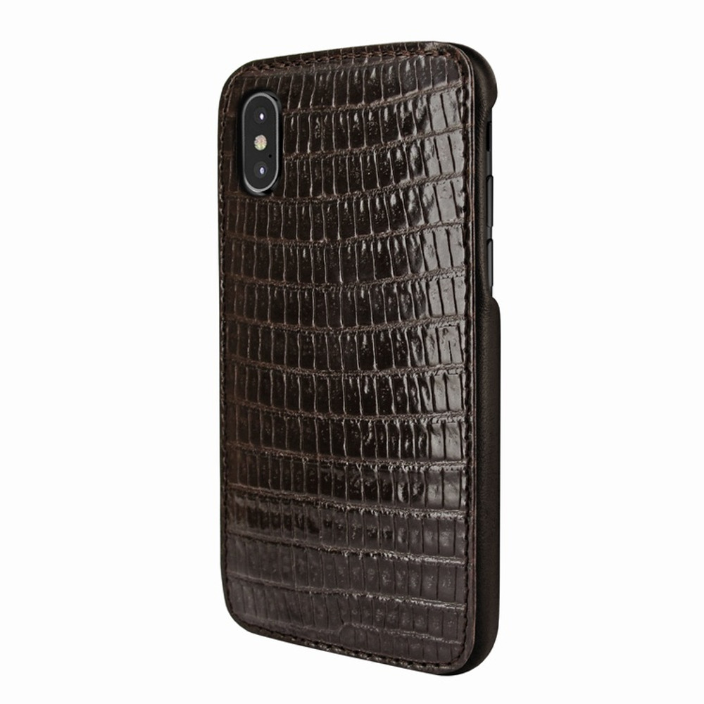 Piel Frama iPhone X / Xs FramaSlimGrip Leather Case - Brown Cowskin-Lizard