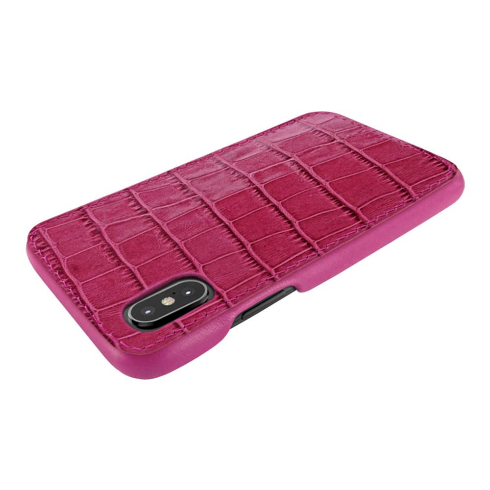 Piel Frama iPhone X / Xs FramaSlimGrip Leather Case - Fucshia Cowskin-Crocodile