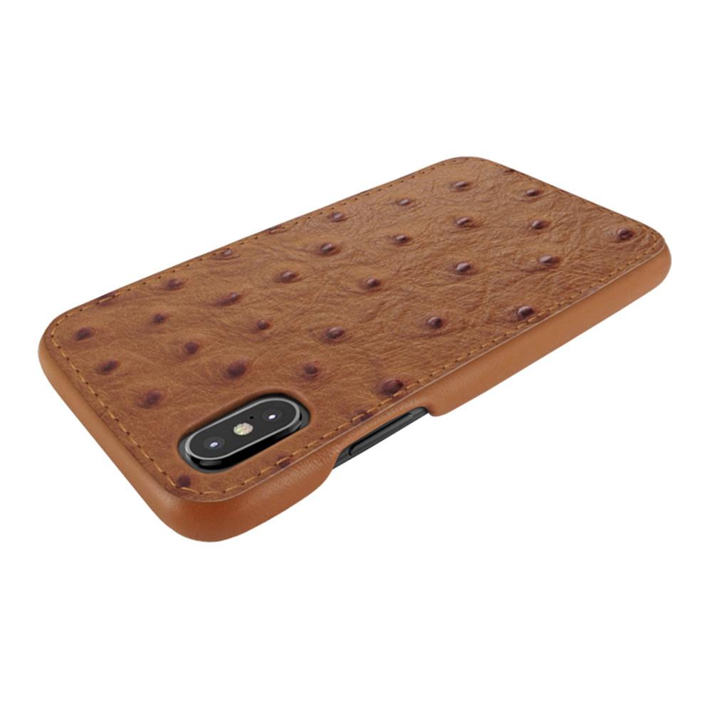 Piel Frama iPhone X / Xs FramaSlimGrip Leather Case - Tan Cowskin-Ostrich