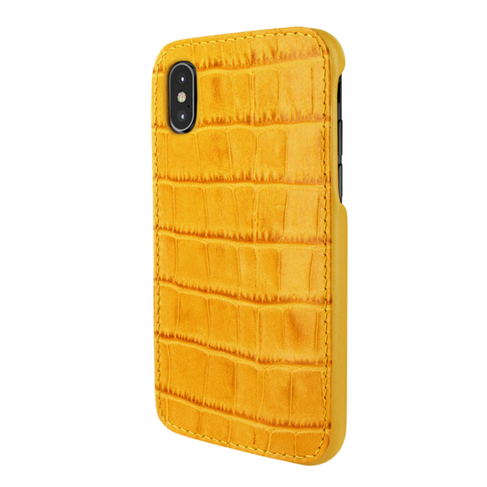 Piel Frama iPhone X / Xs FramaSlimGrip Leather Case - Yellow Cowskin-Crocodile