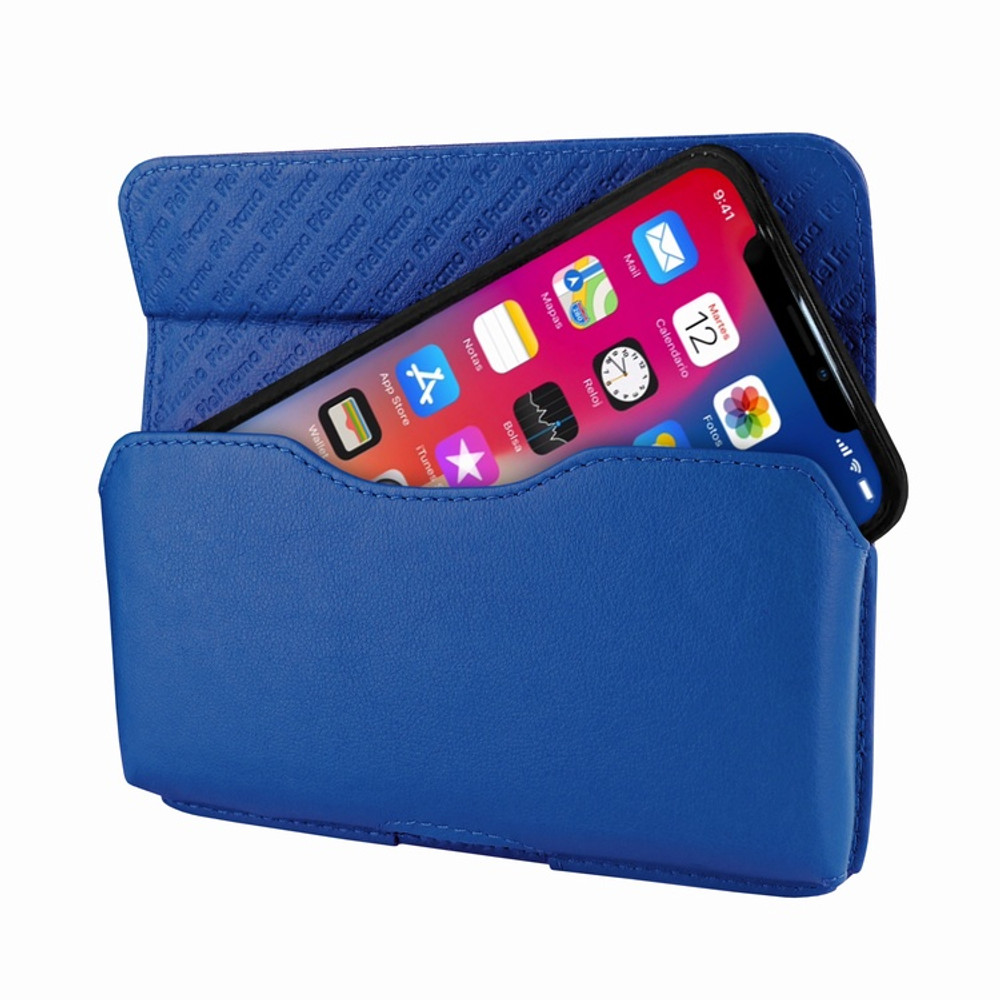 Piel Frama iPhone X / Xs Horizontal Pouch Leather Case - Blue