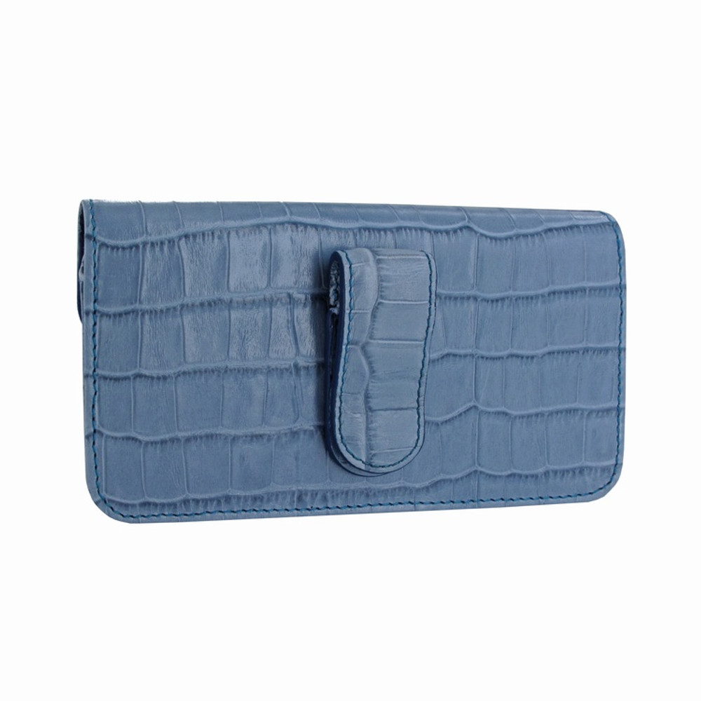 Piel Frama iPhone X / Xs Horizontal Pouch Leather Case - Blue Cowskin-Crocodile