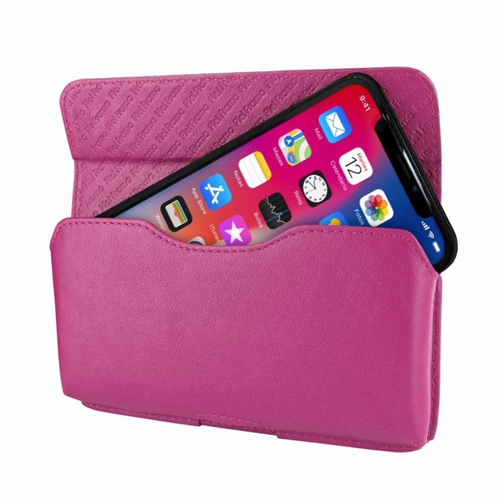 Piel Frama iPhone X / Xs Horizontal Pouch Leather Case - Fuchsia