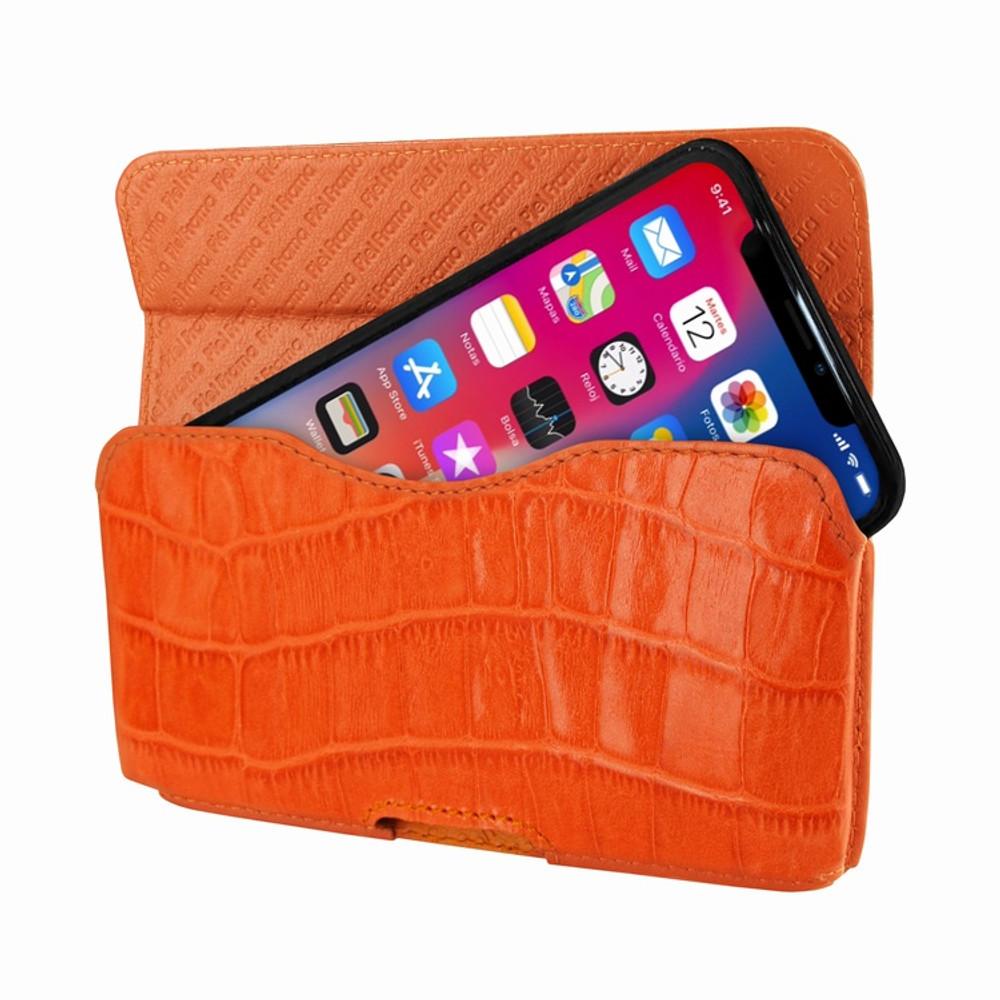 Piel Frama iPhone X / Xs Horizontal Pouch Leather Case - Orange Cowskin-Crocodile
