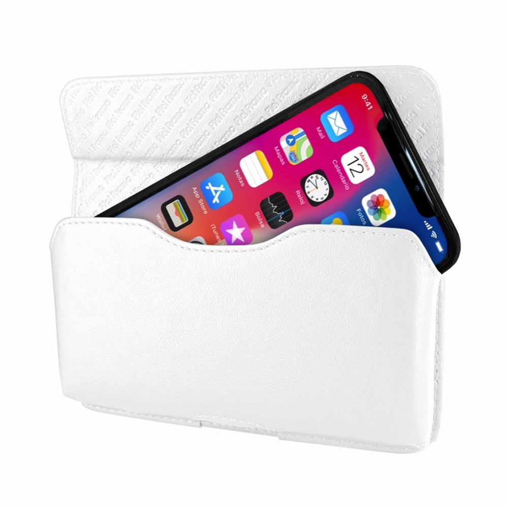 Piel Frama iPhone X / Xs Horizontal Pouch Leather Case - White