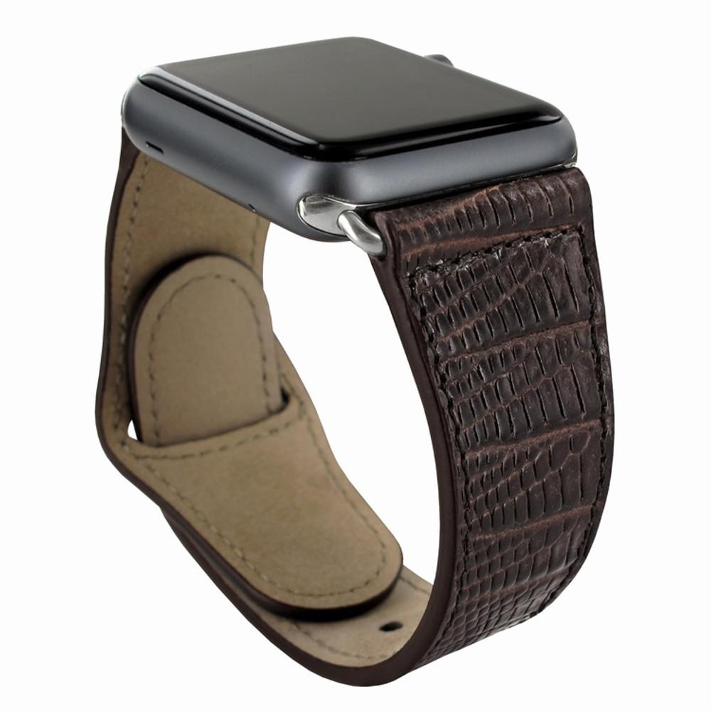 Piel Frama Apple Watch 42 mm Leather Strap - Brown Cowskin-Lizard / Silver Adapter