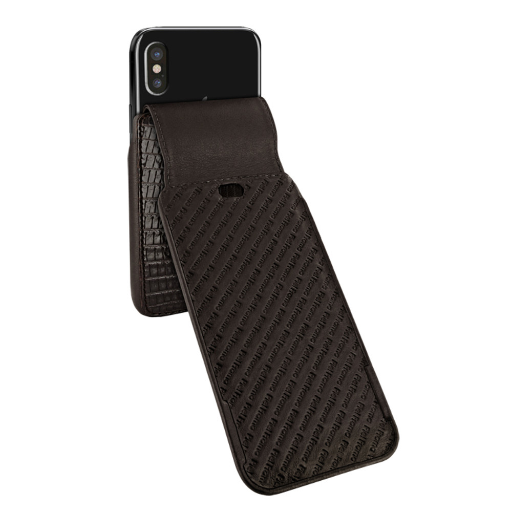 Piel Frama iPhone X / Xs iMagnum Leather Case - Brown Cowskin-Lizard