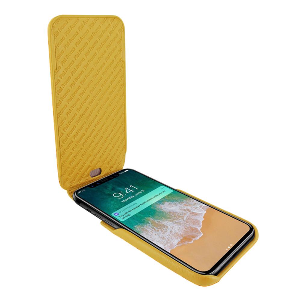 Piel Frama iPhone X / Xs iMagnum Leather Case - Yellow Cowskin-Crocodile
