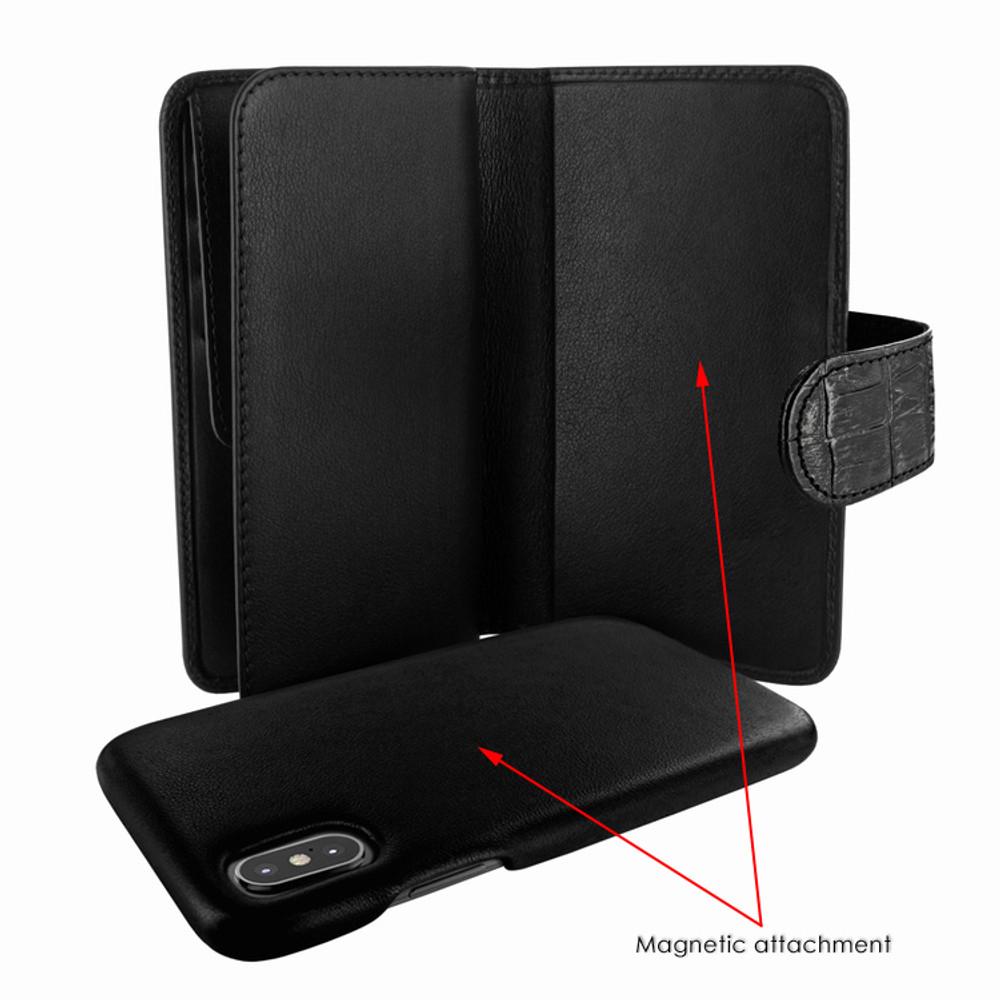 Piel Frama iPhone X / Xs WalletMagnum Leather Case - Black Cowskin-Crocodile