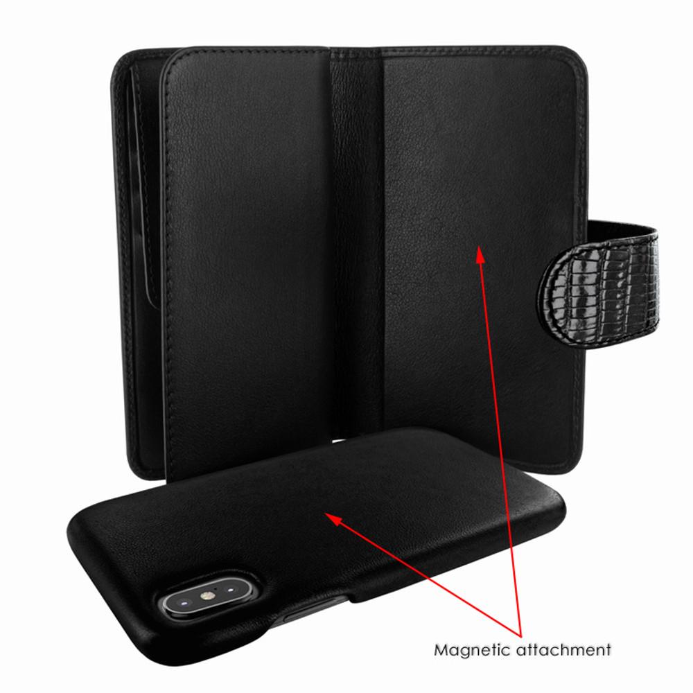 Piel Frama iPhone X / Xs WalletMagnum Leather Case - Black Cowskin-Lizard