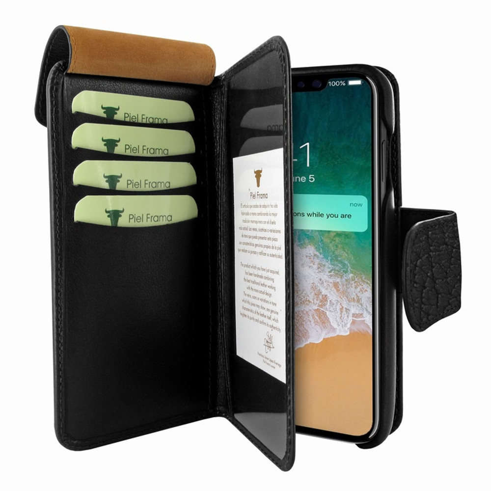 Piel Frama iPhone X / Xs WalletMagnum Leather Case - Black iForte