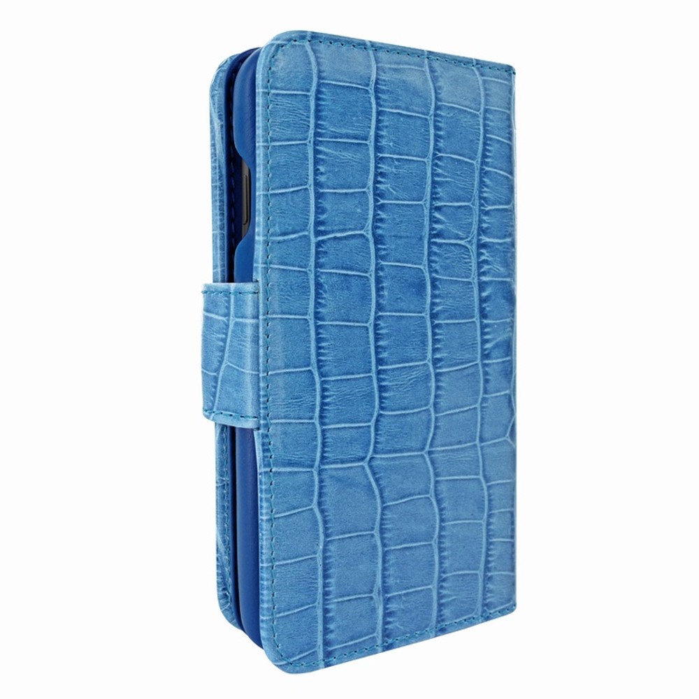 Piel Frama iPhone X / Xs WalletMagnum Leather Case - Blue Cowskin-Crocodile