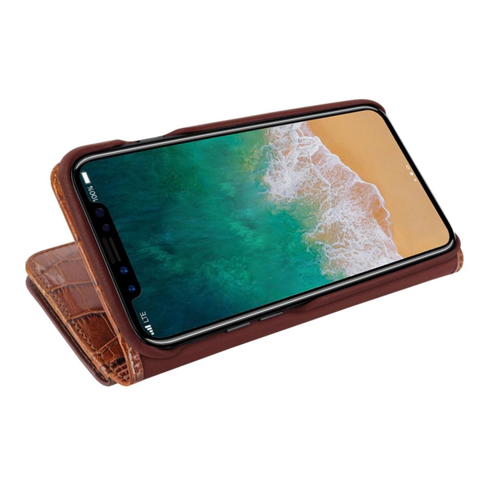 Piel Frama iPhone X / Xs WalletMagnum Leather Case - Brown Cowskin-Crocodile