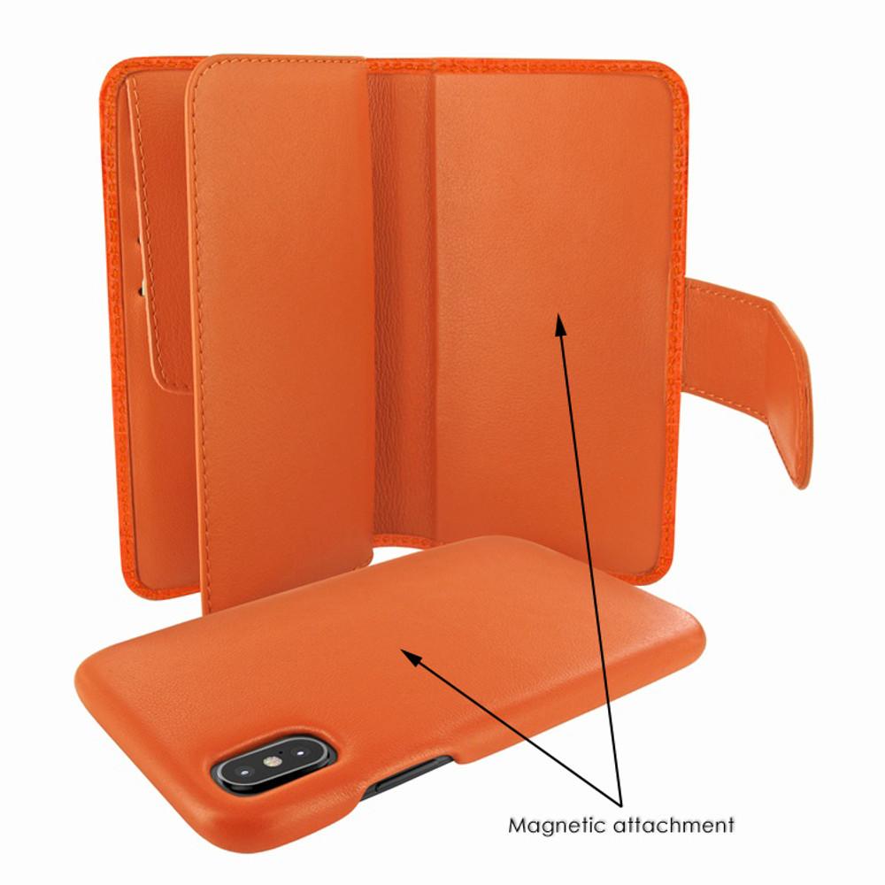 Piel Frama iPhone X / Xs WalletMagnum Leather Case - Orange Cowskin-Crocodile