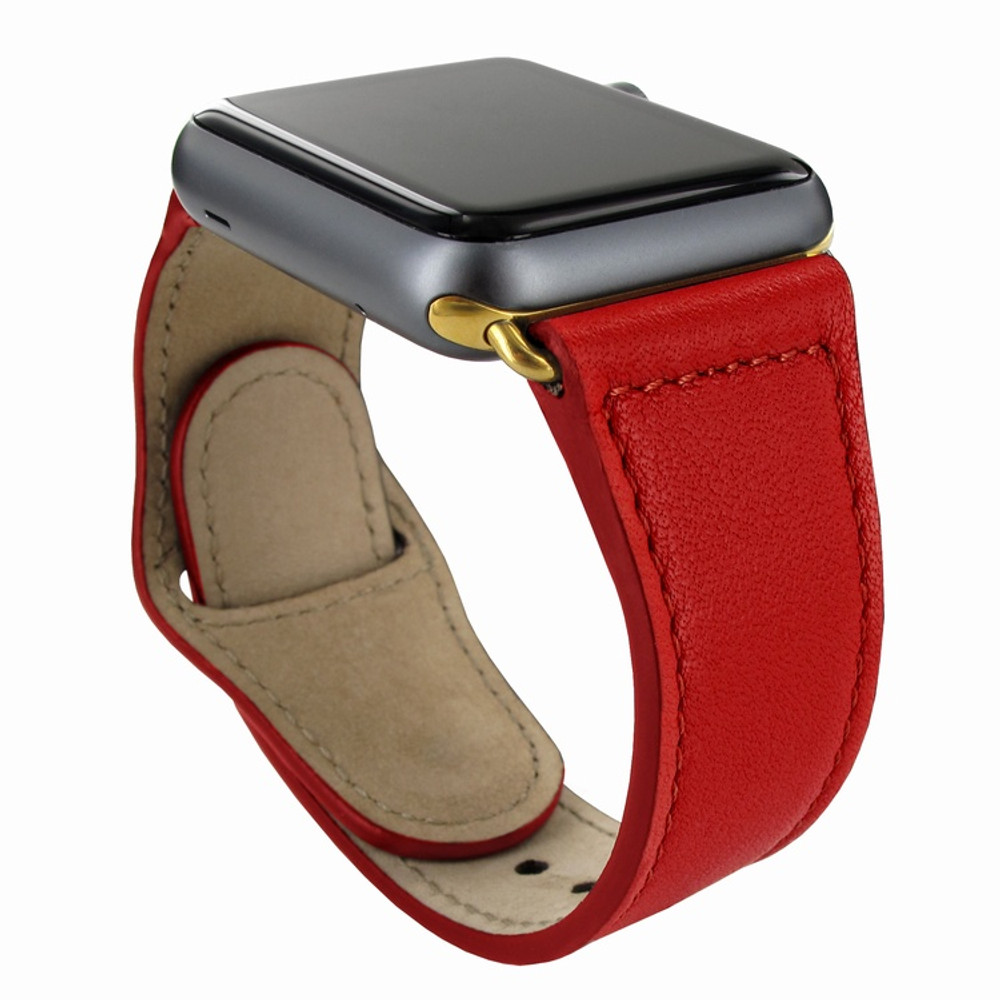 Piel Frama Apple Watch 42 mm Leather Strap - Red / Gold Adapter
