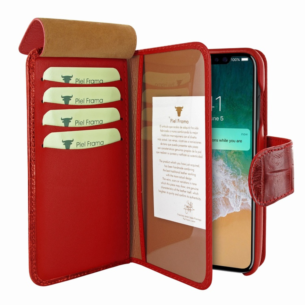 Piel Frama iPhone X / Xs WalletMagnum Leather Case - Red Wild Cowskin-Crocodile