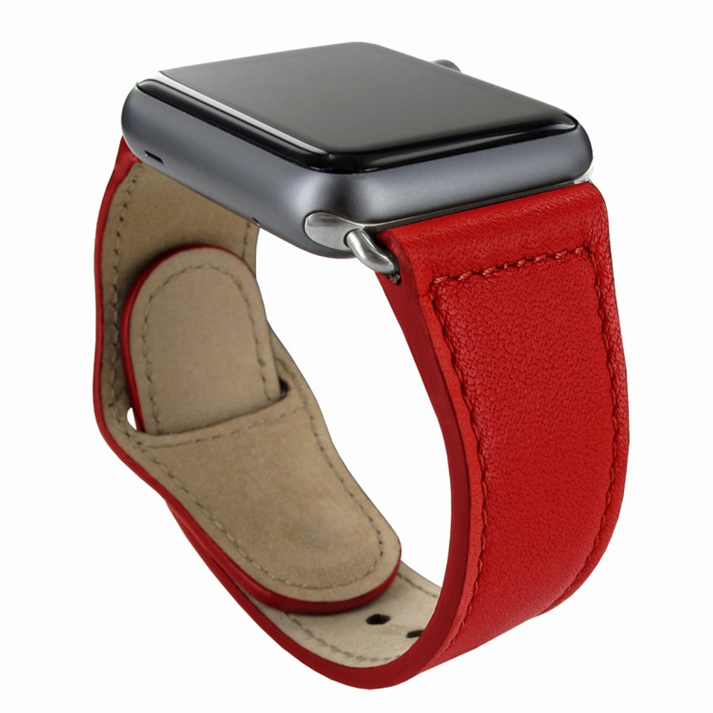 Piel Frama Apple Watch 42 mm Leather Strap - Red / Silver Adapter