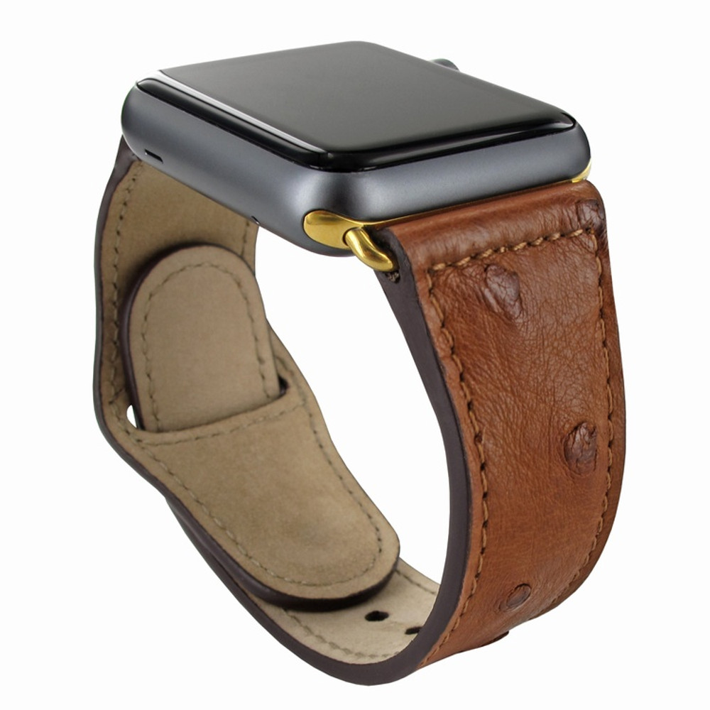 Piel Frama Apple Watch 42 mm Leather Strap - Tan Cowskin-Ostrich / Gold Adapter