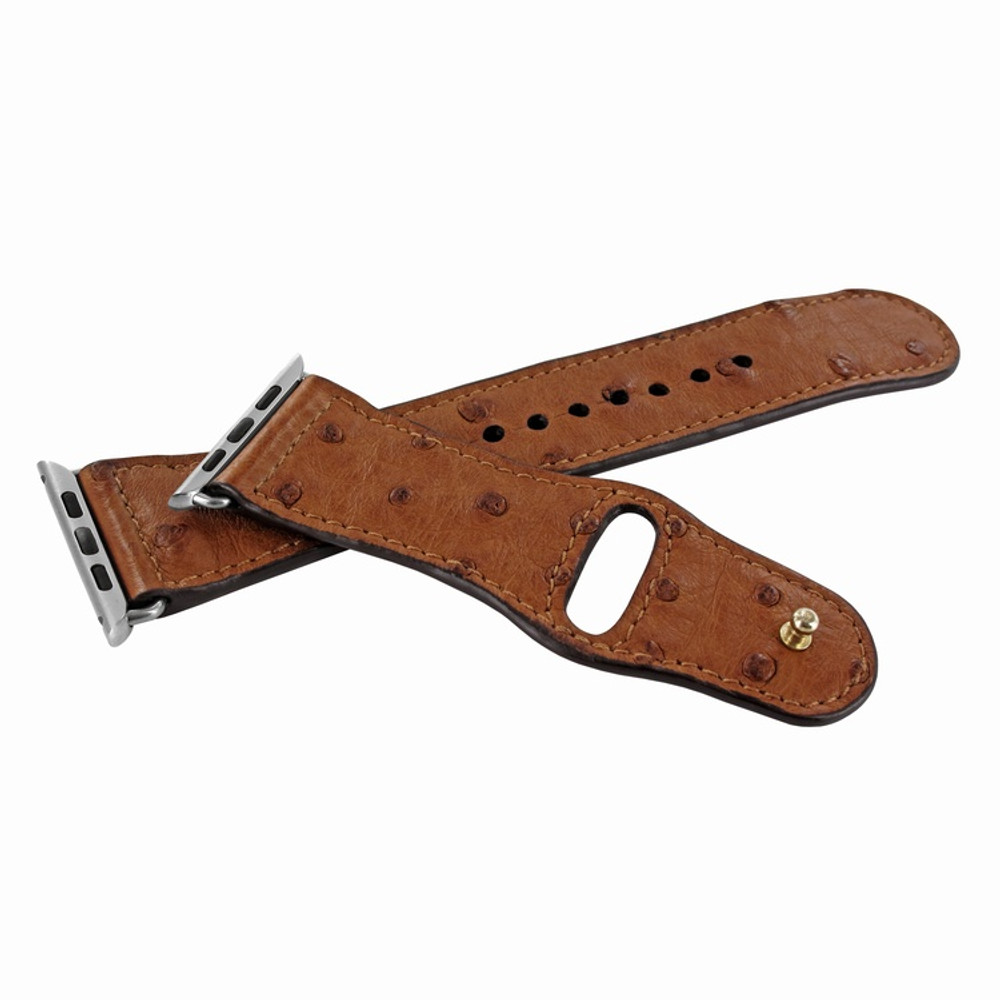 Piel Frama Apple Watch 42 mm Leather Strap - Tan Cowskin-Ostrich / Silver Adapter