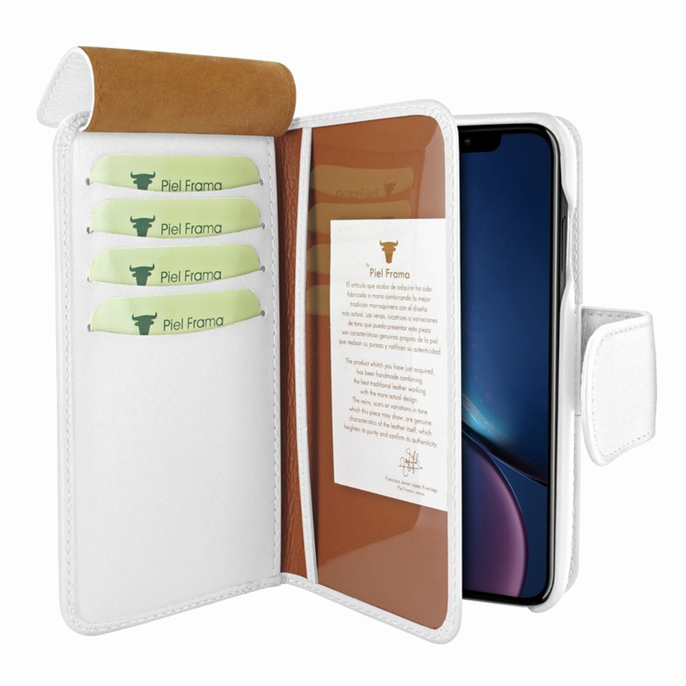 Piel Frama iPhone XR WalletMagnum Leather Case - White