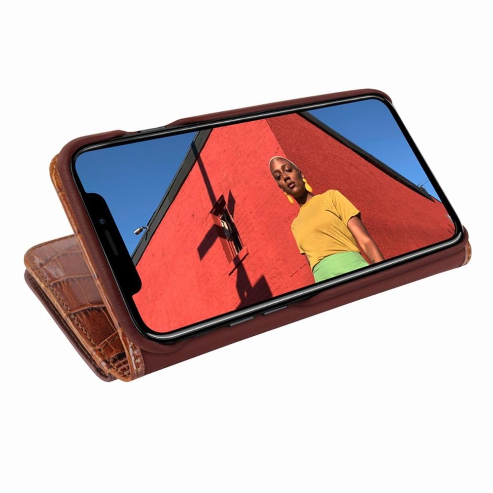Piel Frama iPhone XR WalletMagnum Leather Case - Brown Cowskin-Crocodile