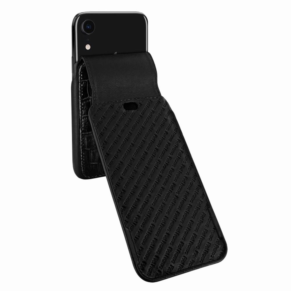 Piel Frama iPhone XR iMagnum Leather Case - Black Cowskin-Crocodile