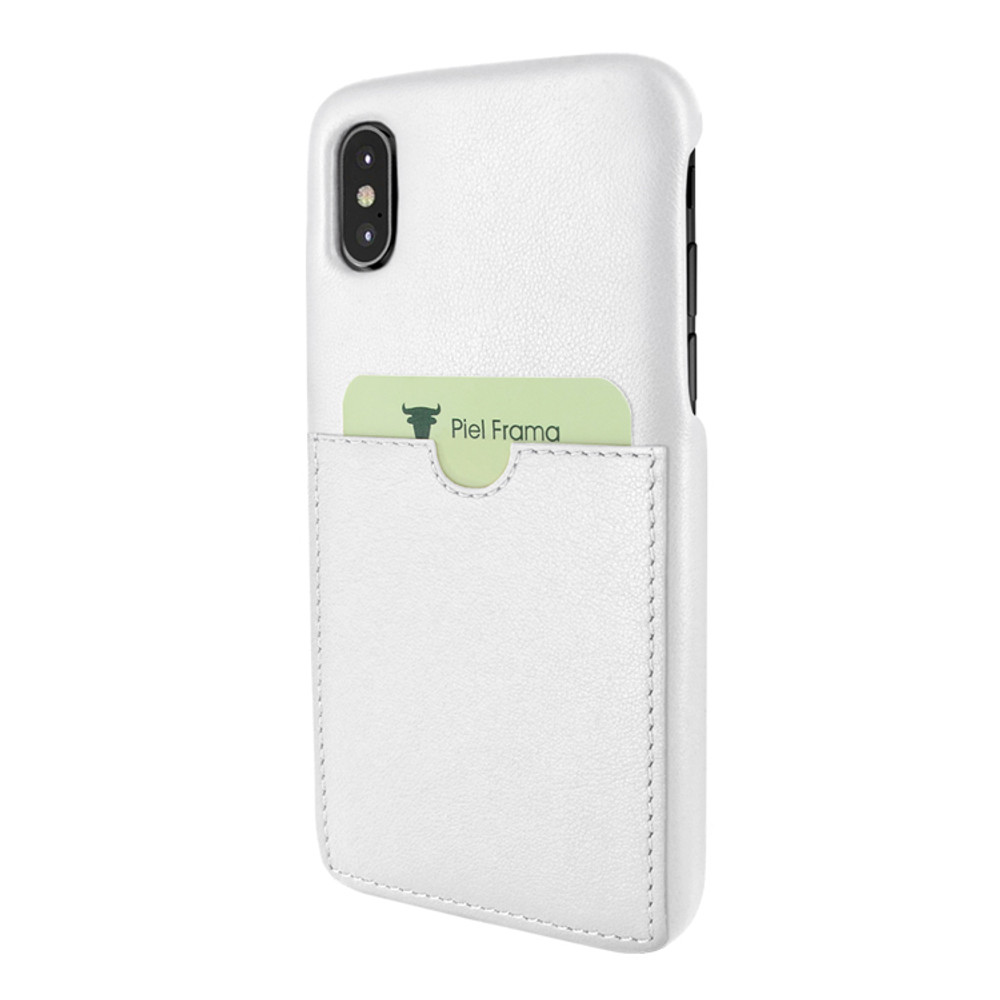 Piel Frama iPhone X / Xs FramaSlimGrip with Card Pocket Leather Case - White
