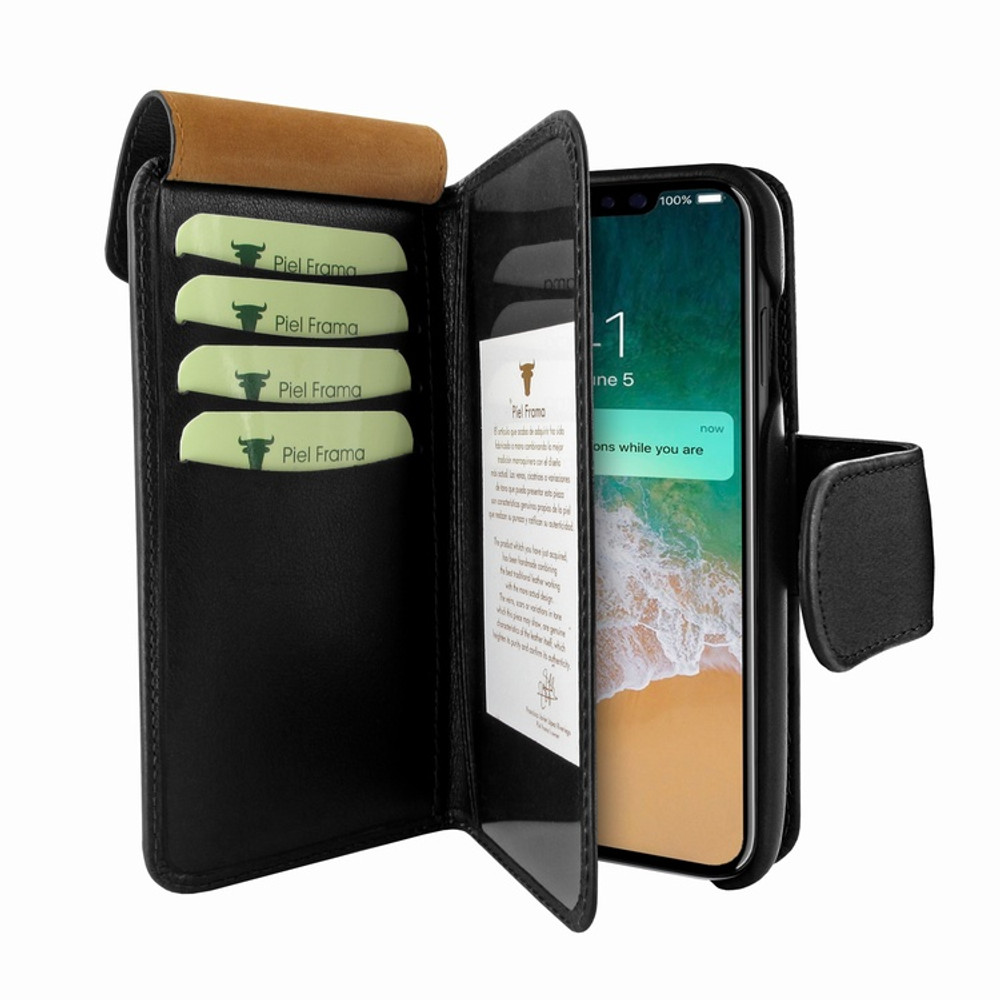 Piel Frama iPhone Xs Max WalletMagnum Leather Case - Black