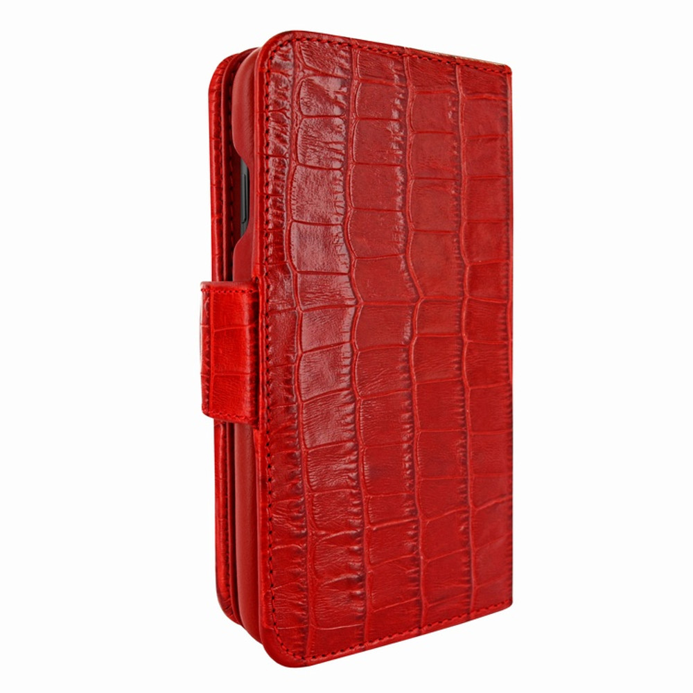 Piel Frama iPhone Xs Max WalletMagnum Leather Case - Red Cowskin-Crocodile