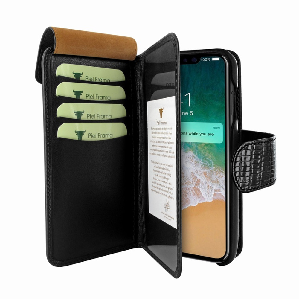 Piel Frama iPhone Xs Max WalletMagnum Leather Case - Black Cowskin-Lizard