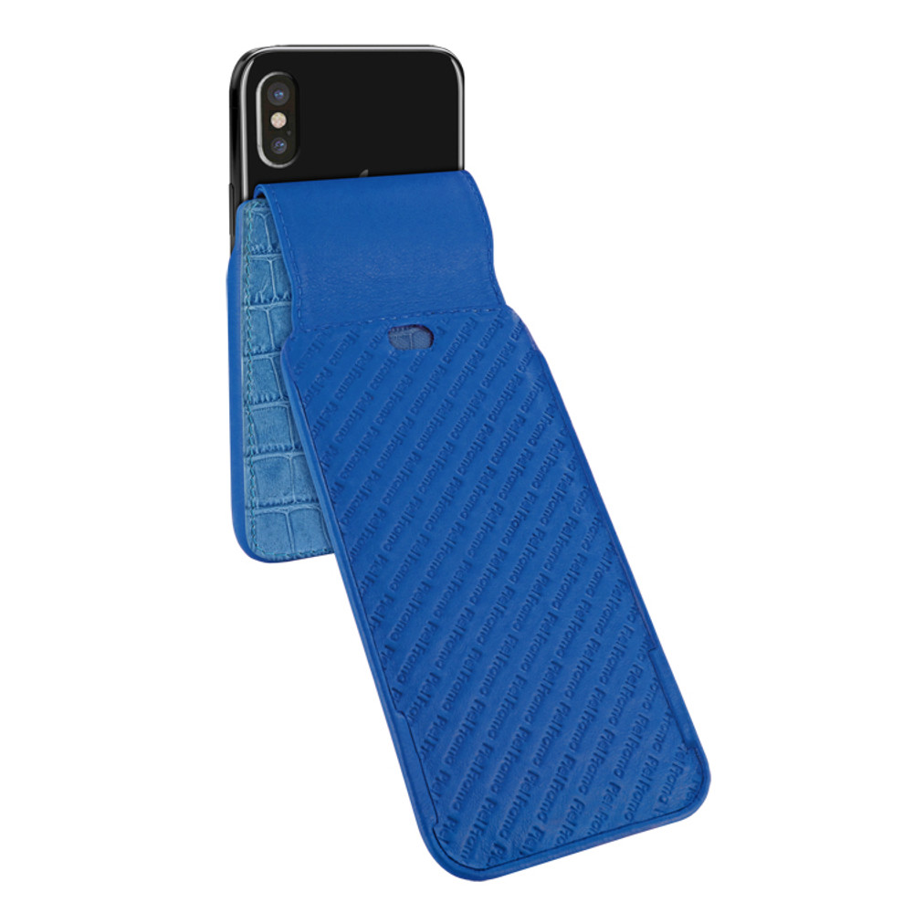Piel Frama iPhone Xs Max iMagnum Leather Case - Blue Cowskin-Crocodile
