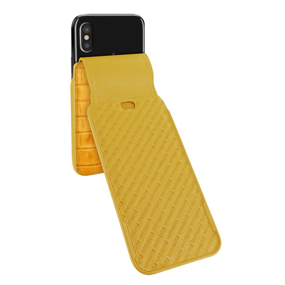 Piel Frama iPhone Xs Max iMagnum Leather Case - Yellow Cowskin-Crocodile
