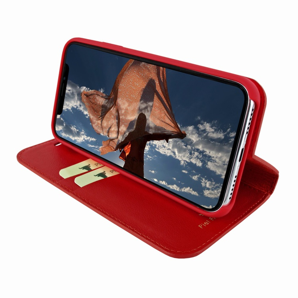 Piel Frama iPhone Xs Max FramaSlimCards Leather Case - Red Cowskin-Crocodile