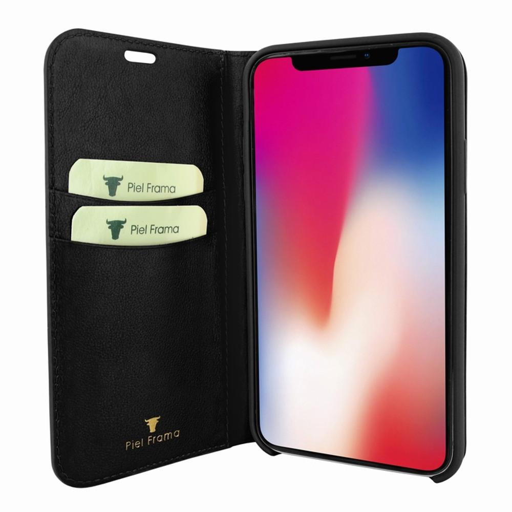 Piel Frama iPhone Xs Max FramaSlimCards Leather Case - Black Cowskin-Lizard